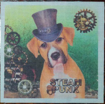 steampunk hond groen